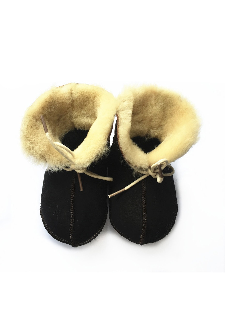 Baby  Leather Shoes - Black / Cream Fur