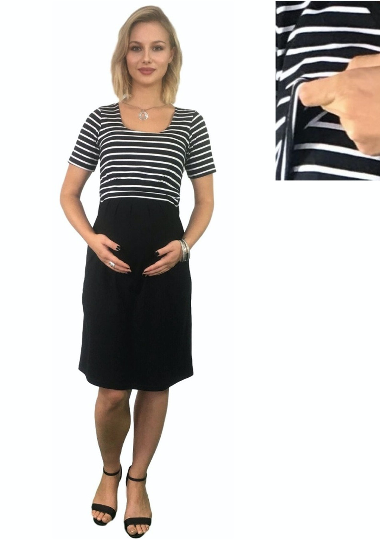 c84609e4c6482 Maternity Clothes Online - Summer Cotton Maternity & Nursing Dress -  Striped - Last ones Left - Onceit