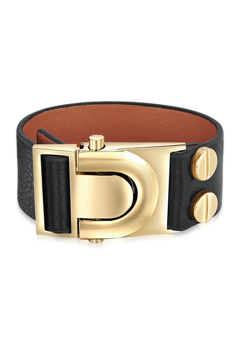 Genuine Cow Leather Clasp Bracelet - BLK