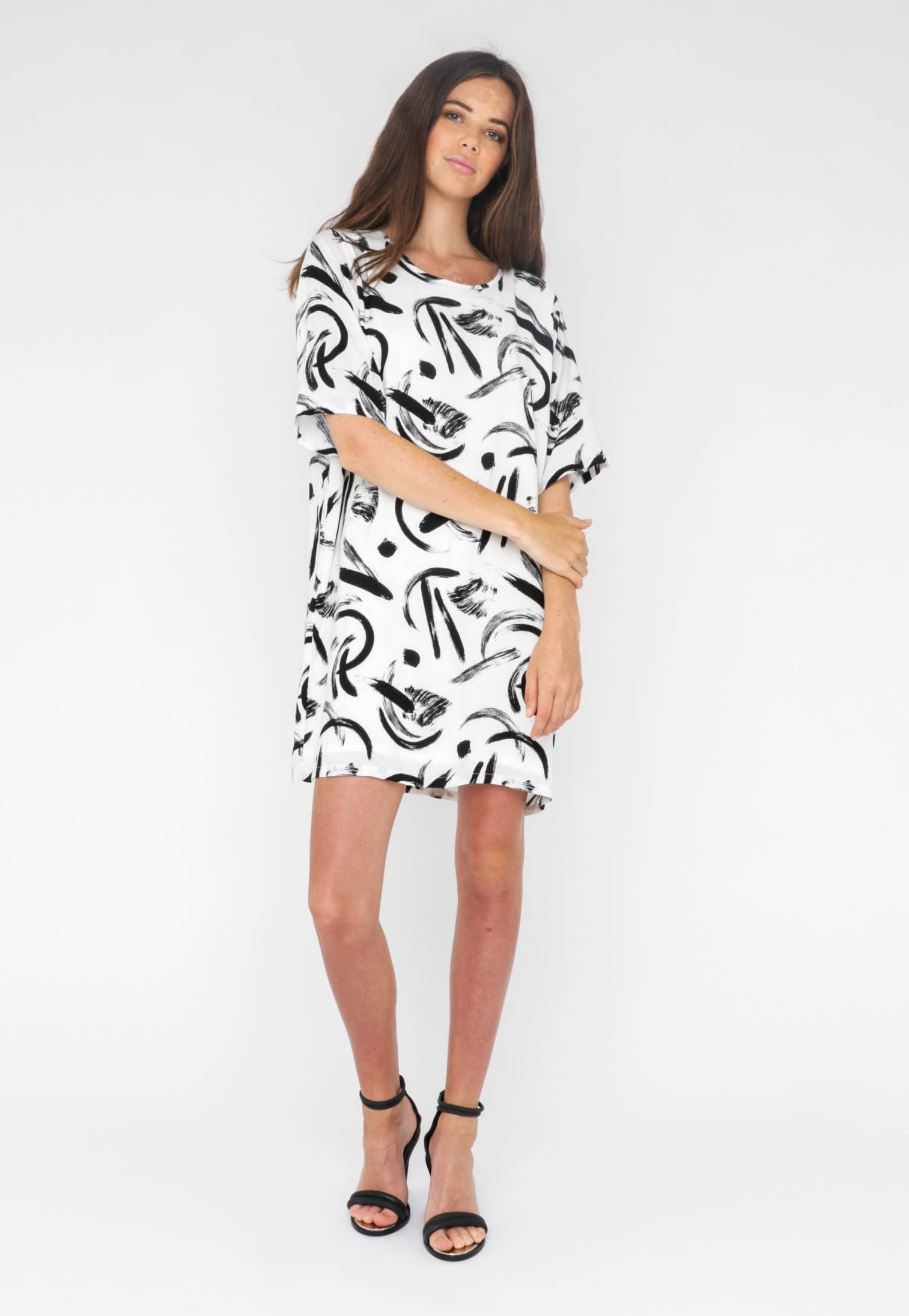 All About Eve  - Le Freak Tee Dress - White/Blk Print