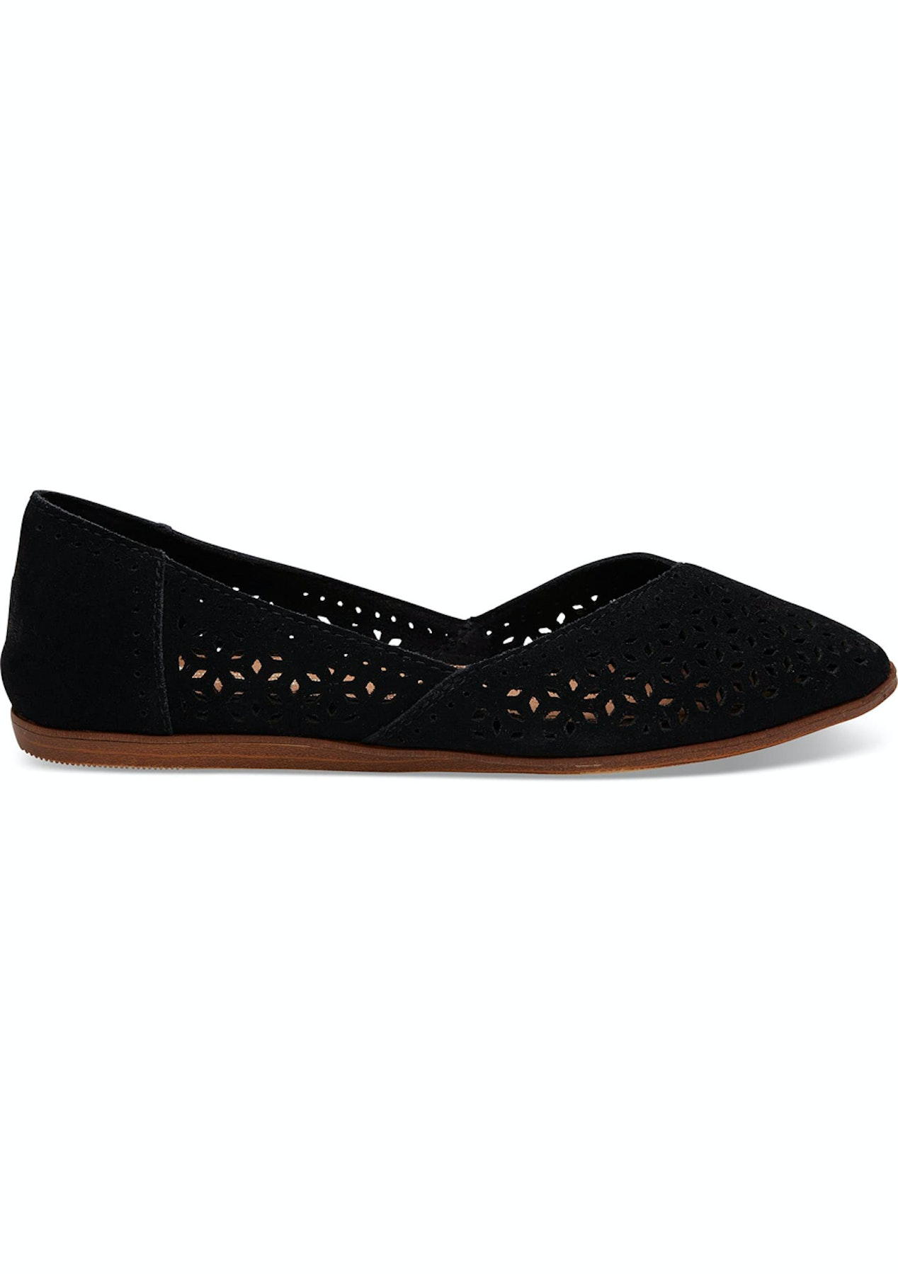 42926ab18bc Toms - Womens Classic Jutti Flat - Black Perforated Suede - Toms - Onceit