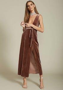 ad4bc318f0e27d Lioness - Shut It Down Velvet Dress - Coffee