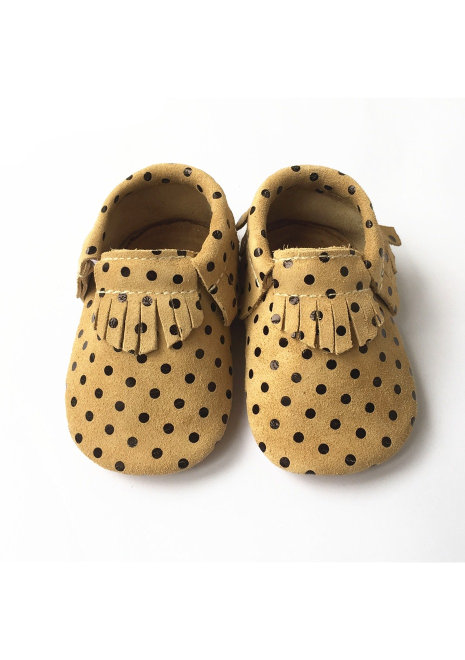 Baby  Leather Shoes - Yellow/Pocka Dot