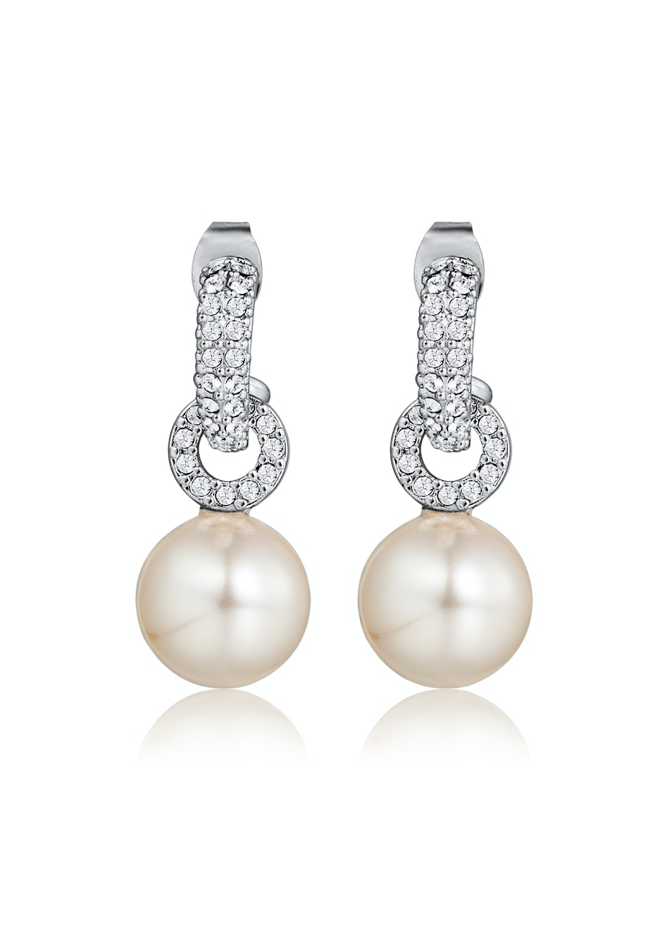 Pearl Drop Earrings Embellished with Crystals from Swarovski