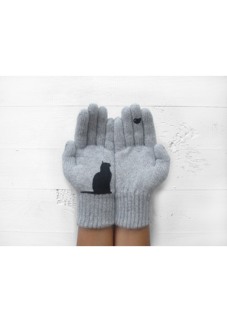 Cat & Bird Gloves - Grey