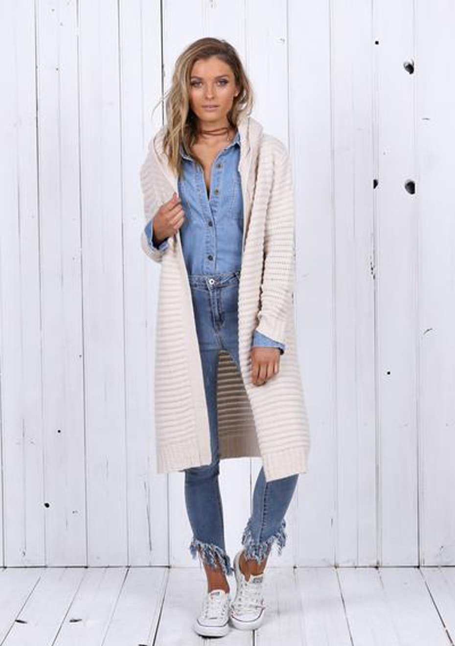 Madison - WILLOW HOODED CARDIGAN - CREAM