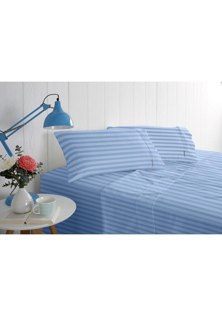 Odyssey Living 1000 Thread Count - Cotton Rich Solid Sateen -Bluebird - Queen Bed
