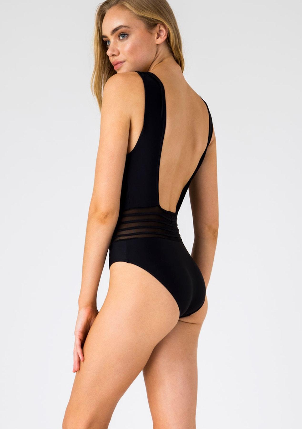 e0fd53e744f98 Sheridyn Swim - Lux Resort Plunge V Neck One Piece Swimsuit Black - Womens  Garage Sale - Onceit