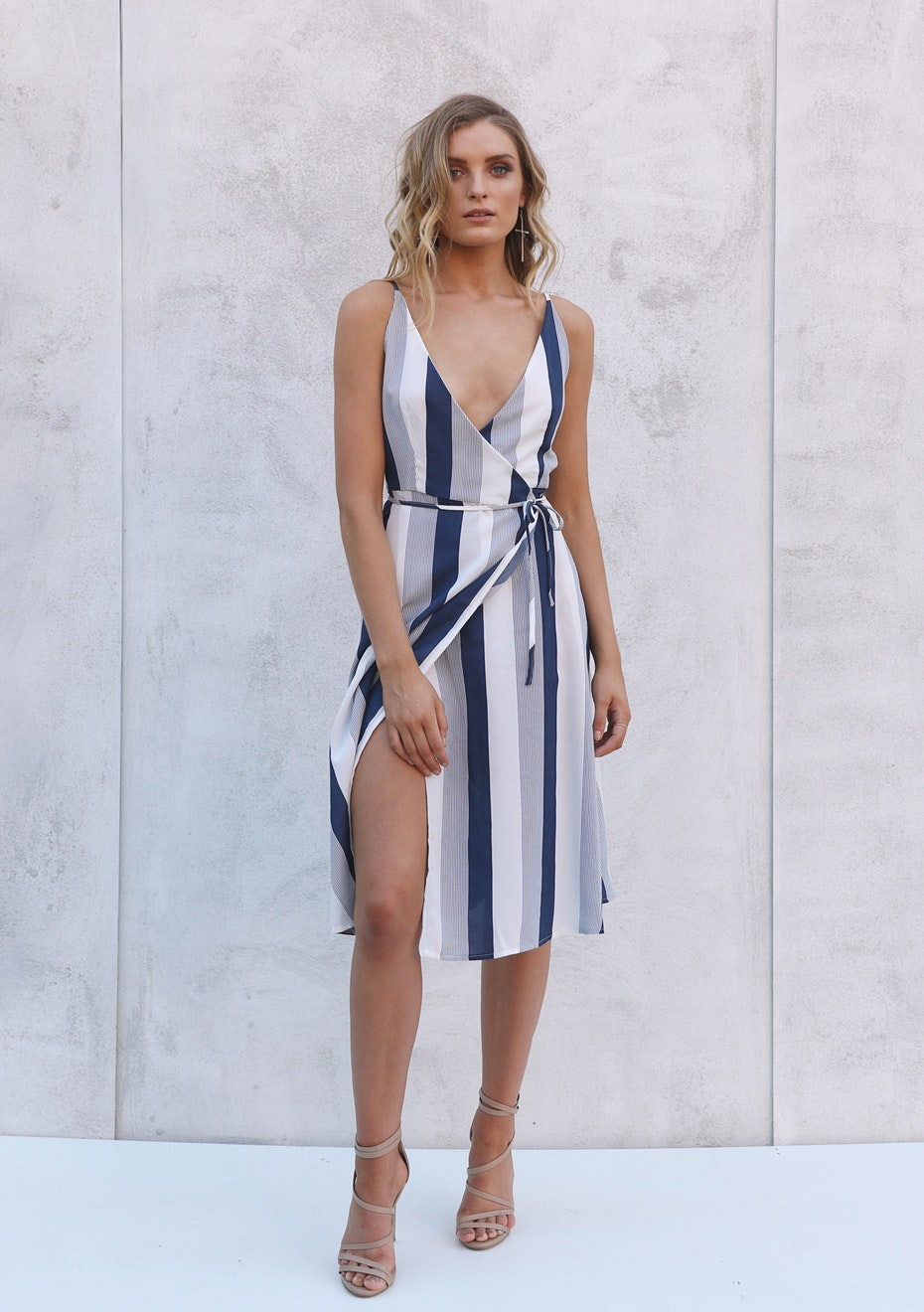 Madison - CARRIE WRAP DRESS - NAVY STRIPE