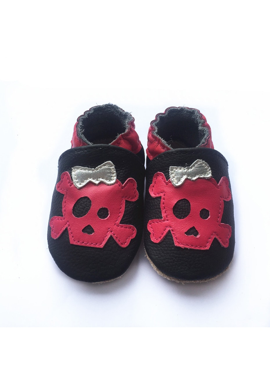 Baby  Leather Shoes - Black / Red Skull