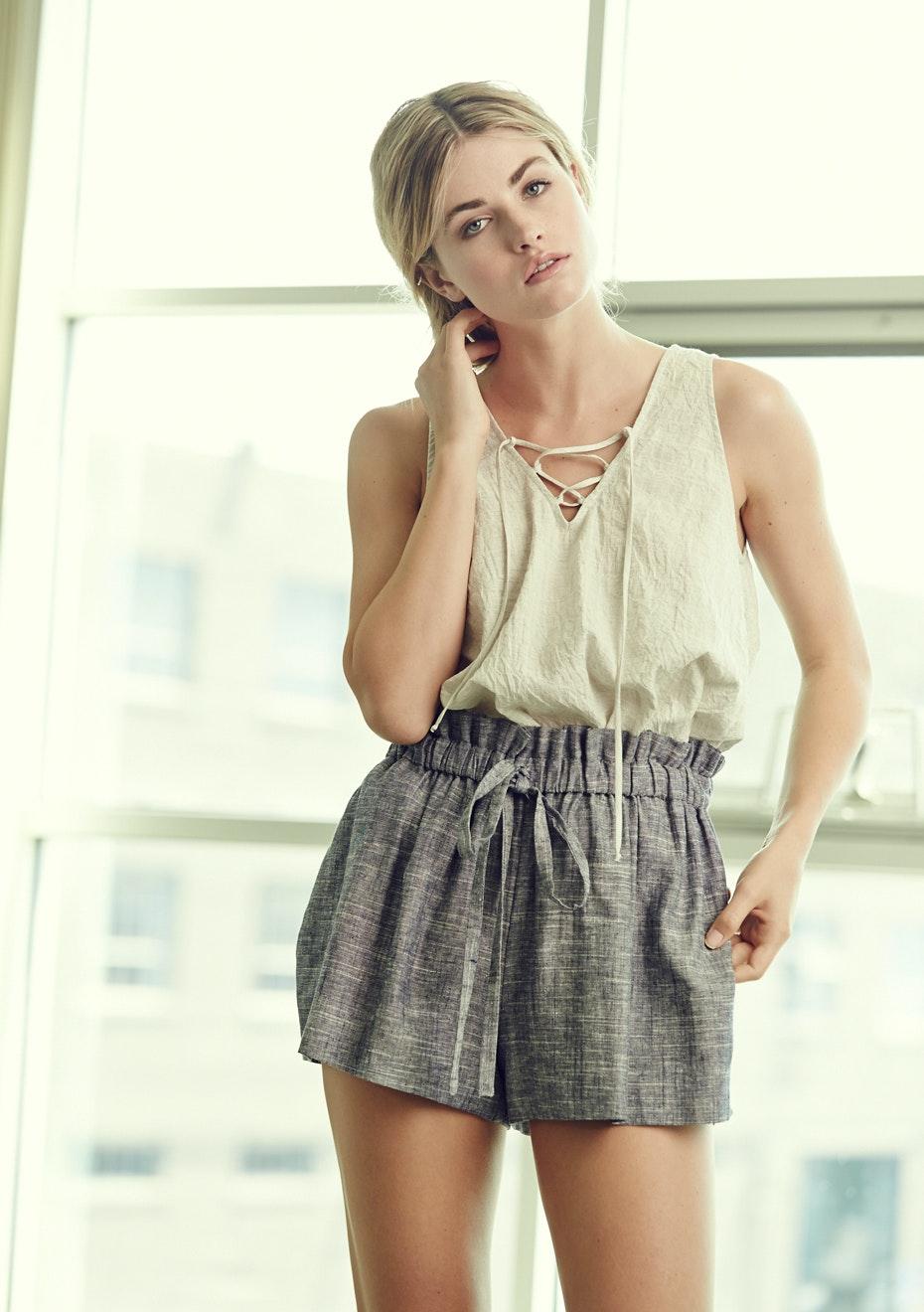 Achro - Drawstring Linen Shorts - Grey