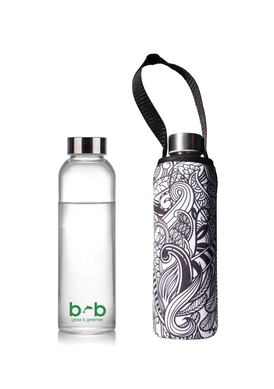 BBBYO - Glass Is Greener Bottle 570 ml + Carry Cover (Koru Print) - 570 ml