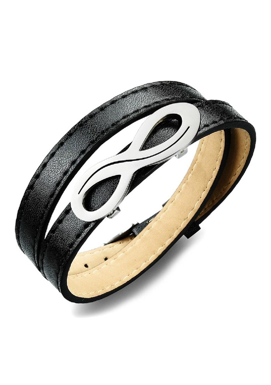 Genuine Leather Infinite Wrap Bracelet | Black