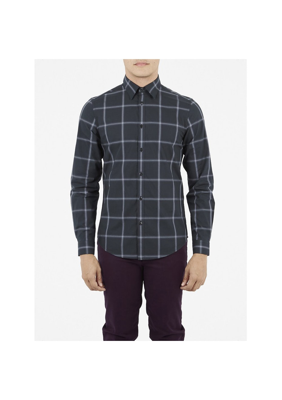 LS Ombre Check Shirt Jet Black