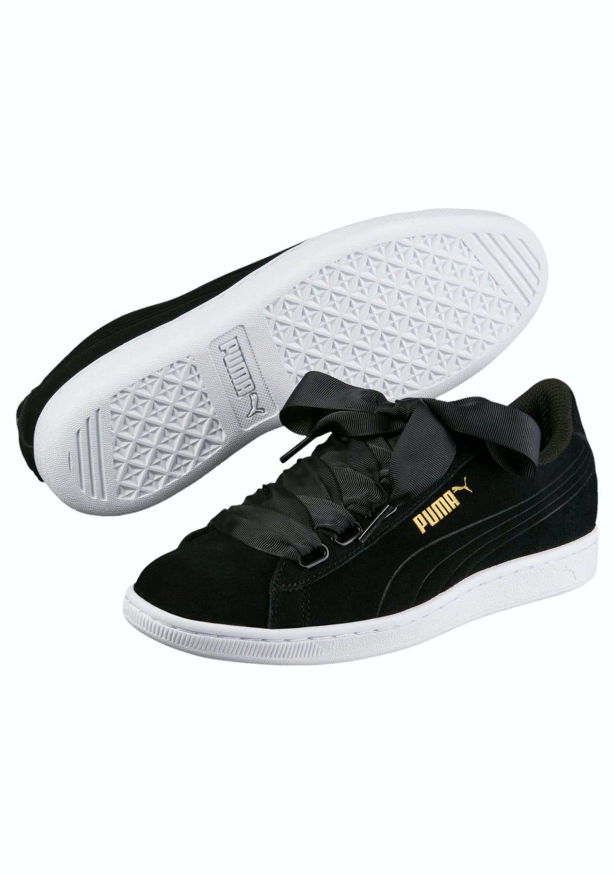 4143ccc16eb ... Puma Womens - Vikky Ribbon Black - Puma Womens   Kids Up to 60% Off PUMA  Suede bow lace-up leather trainers white Puma White 350120140 BCQVNDS ...