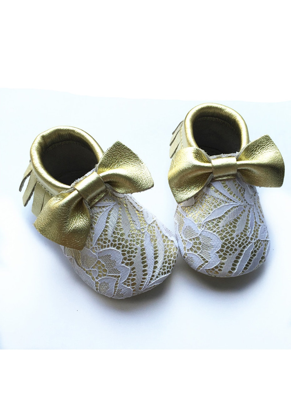 Baby  Leather Shoes - Gold/Cream