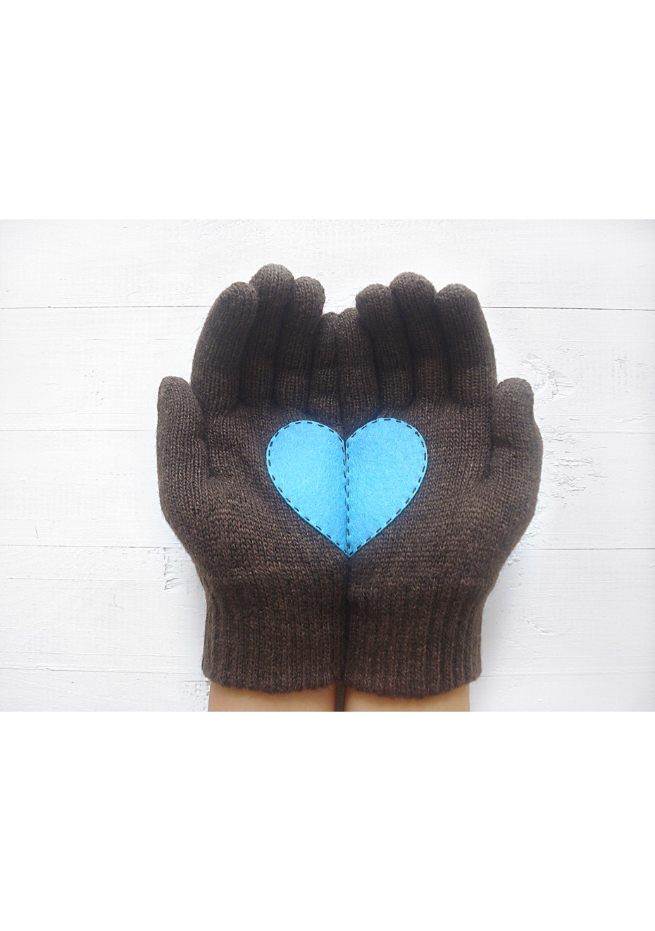 Heart Gloves - Chocolate Brown
