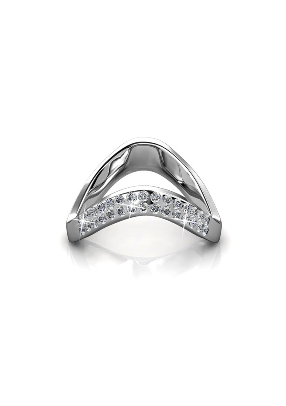 Bianca White Gold Ring Embellished with Crystals from Swarovski