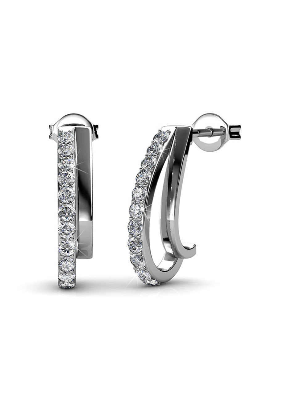Evolve White Gold Earrings Embellished with Crystals from Swarovski