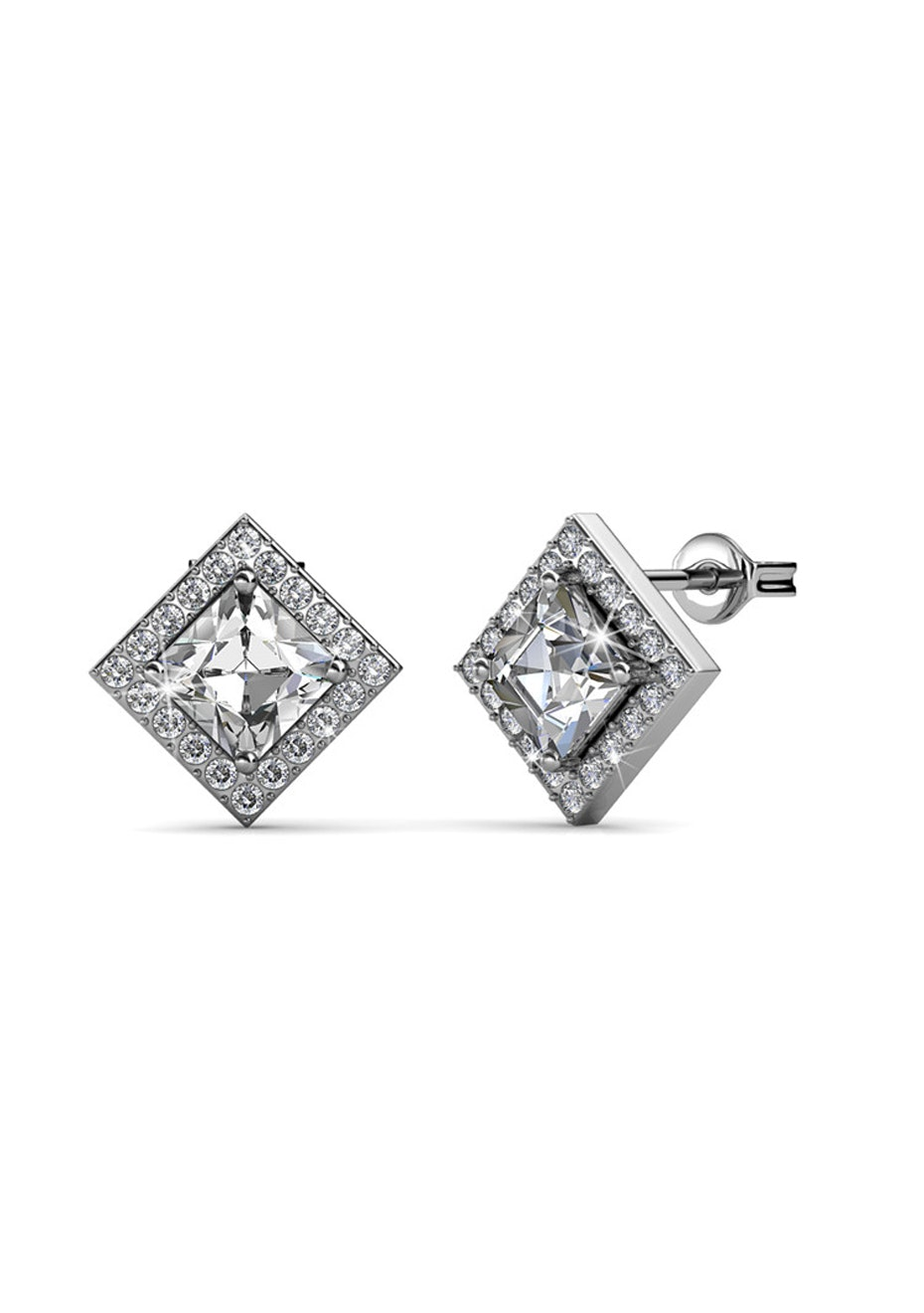 Apex White Gold Earrings Embellished with Crystals from Swarovski