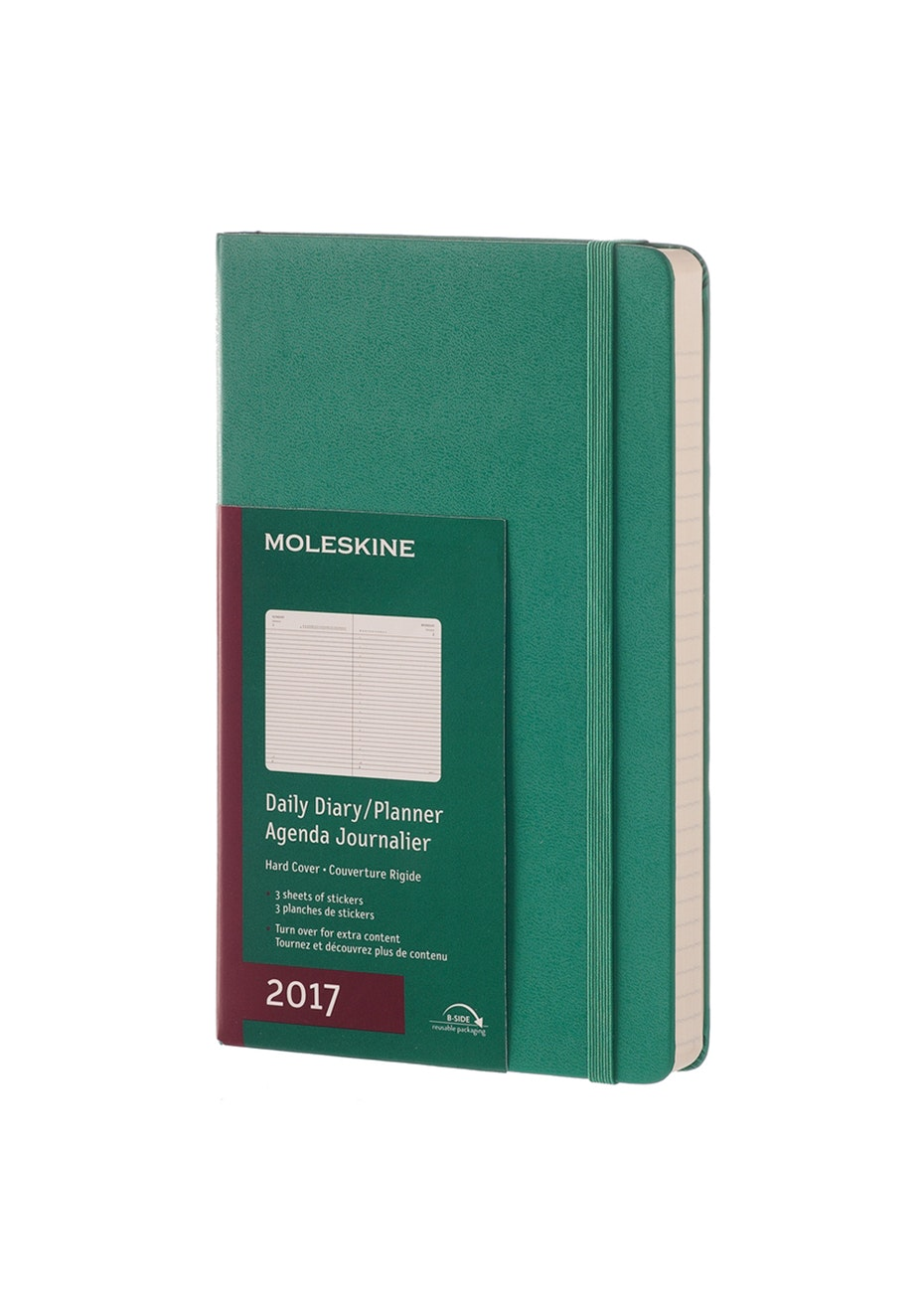 2017 Hard Cover Diary - Daily - Malachite Green - Large - 13 x 21cm