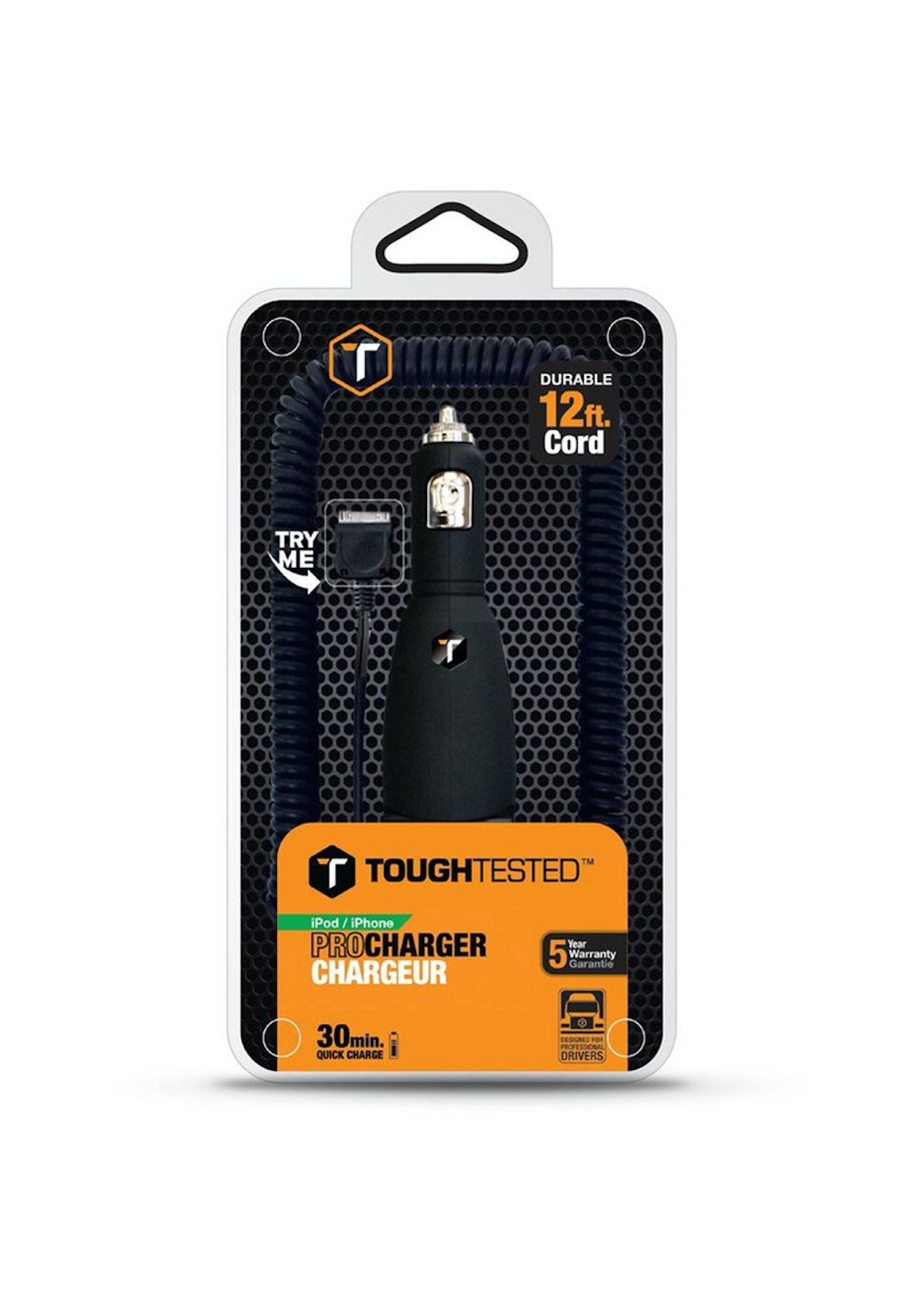 ToughTested 30 Pin Car Charger for Apple iPhone 4S 4 3GS 3G