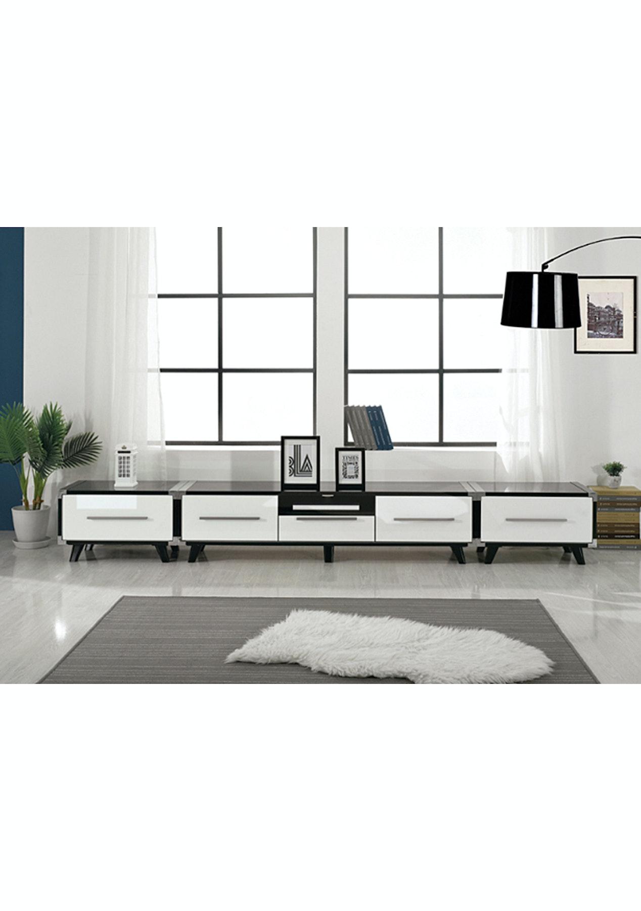 Love 3 piece Entertainment Set - White & Black