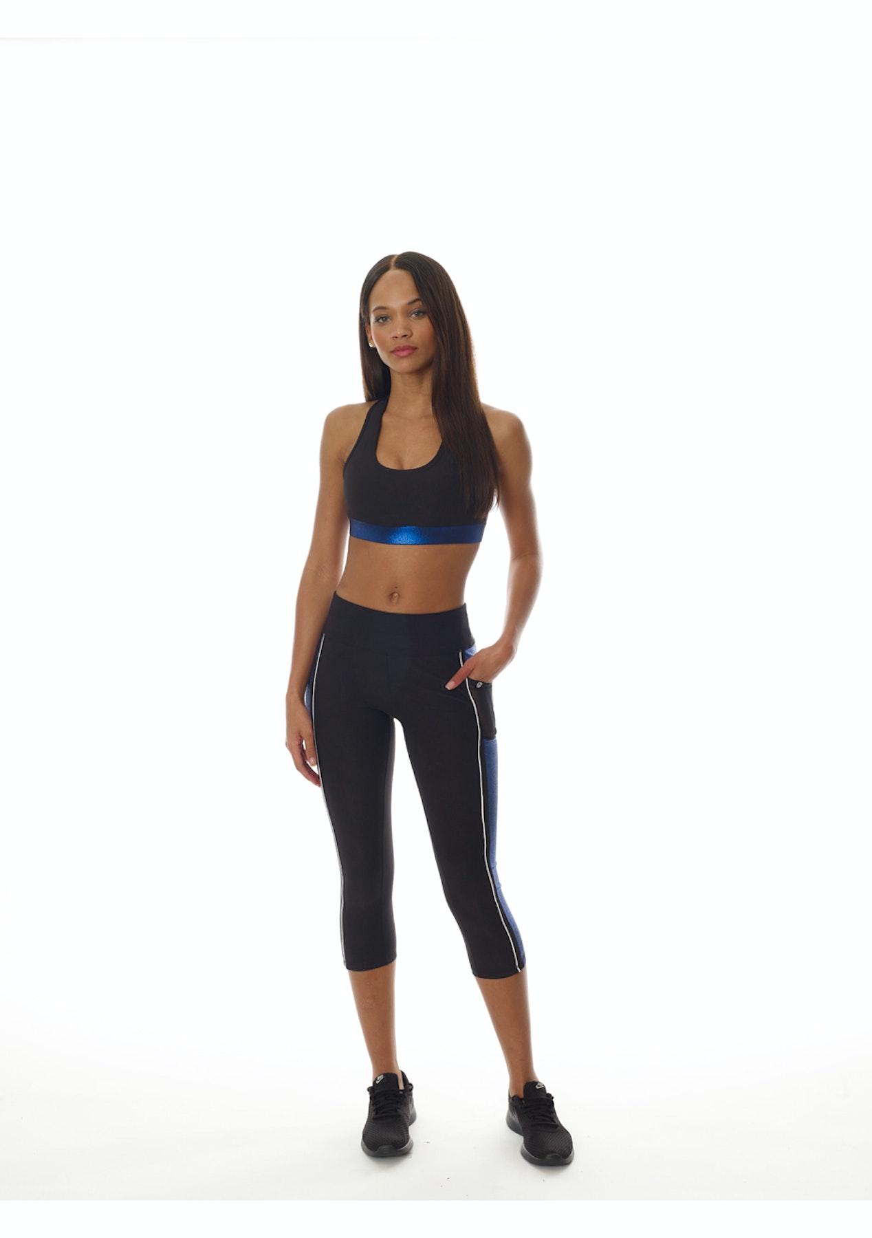 02b6d26f2464 Gottex - Double Line Color Block Capri - Black Blue - Activewear Under  45  - Onceit