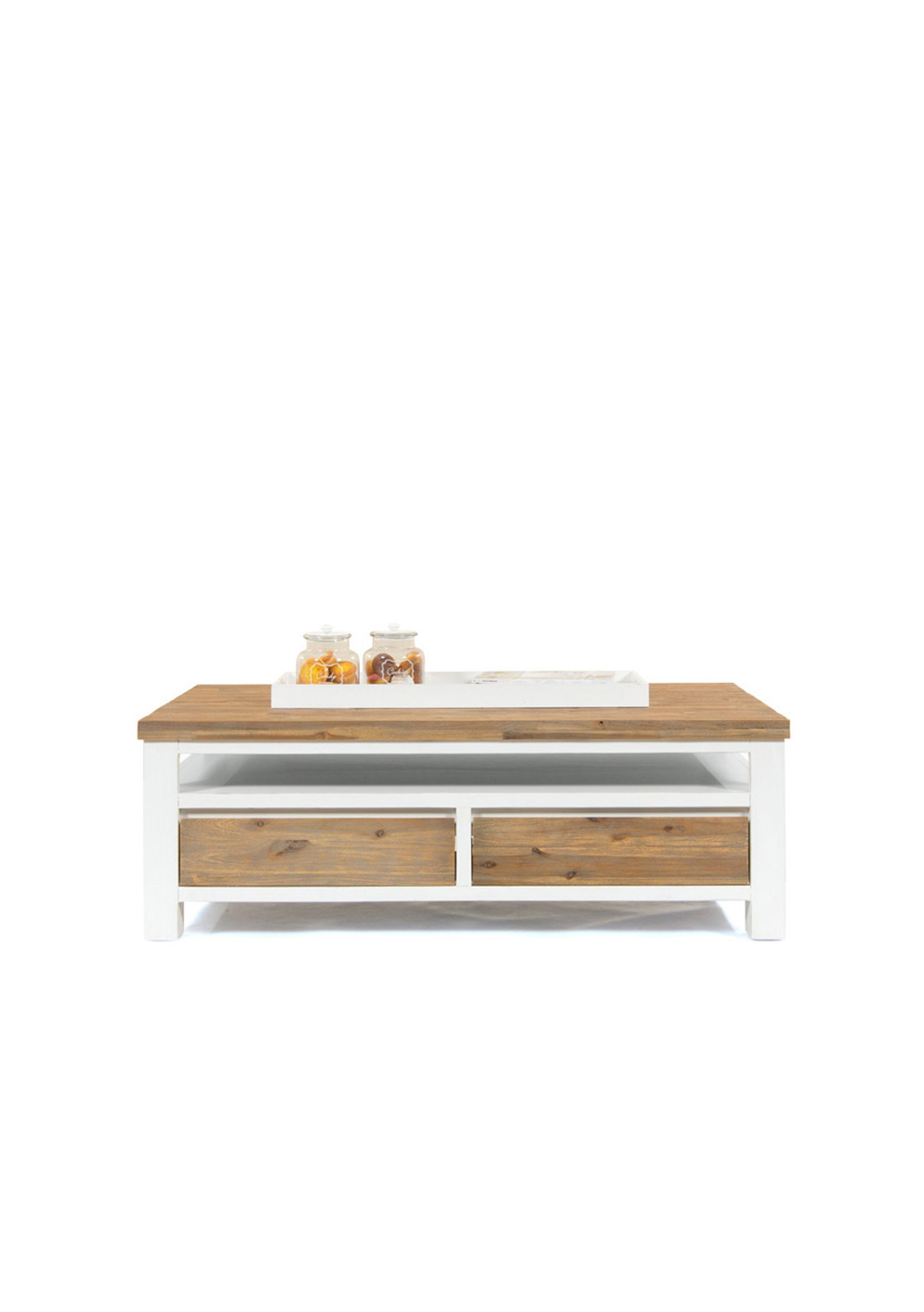 FbD Urban Coffee Table White and Acacia Furniture by Design