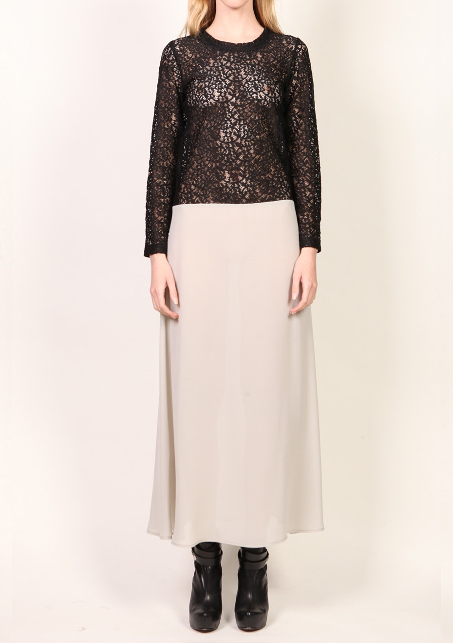 X-Plain - Long sleeve Lace Dress - Black/Grey