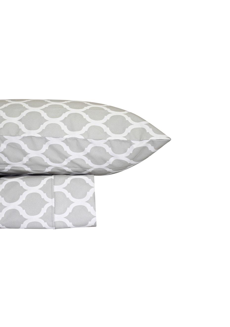 Thermal Flannel Sheet Sets - Morocco Design - Glacier - Single Bed