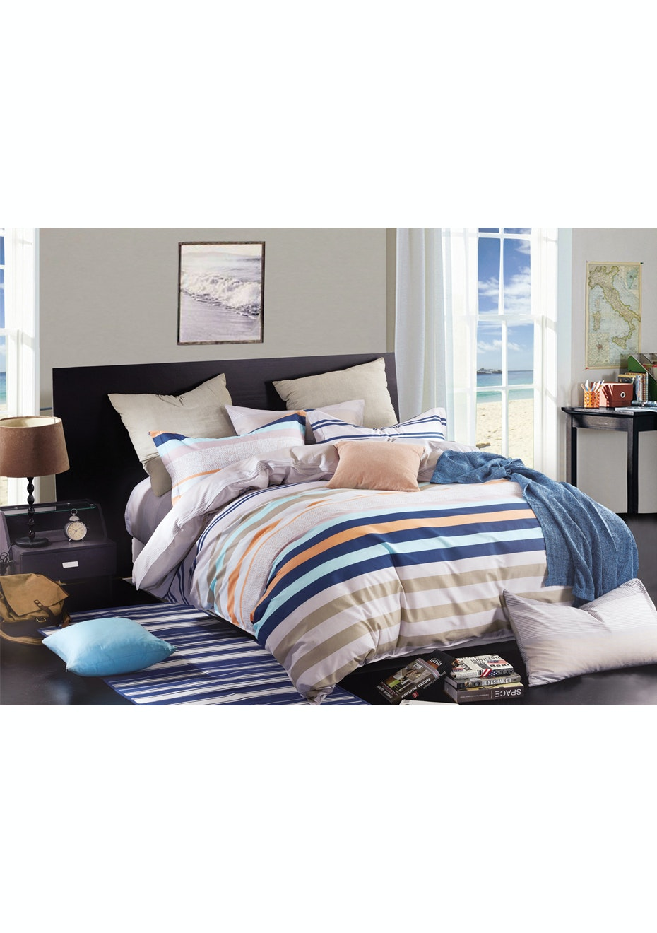 Sunset Quilt Cover Set - Reversible Design - 100% Cotton Double Bed