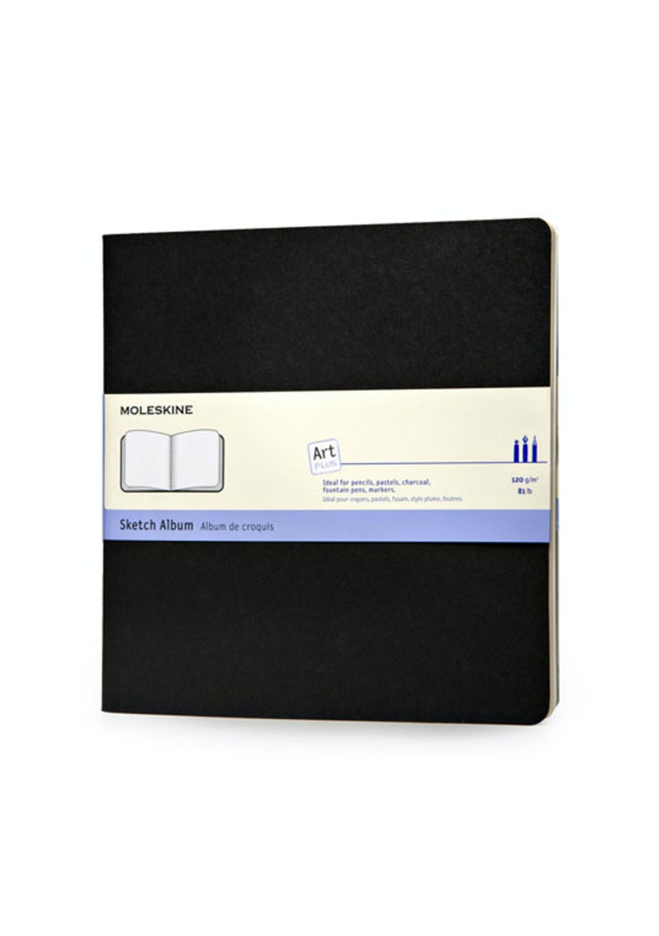 Moleskine - Art Cahier Sketchbook - Plain - Square - Black