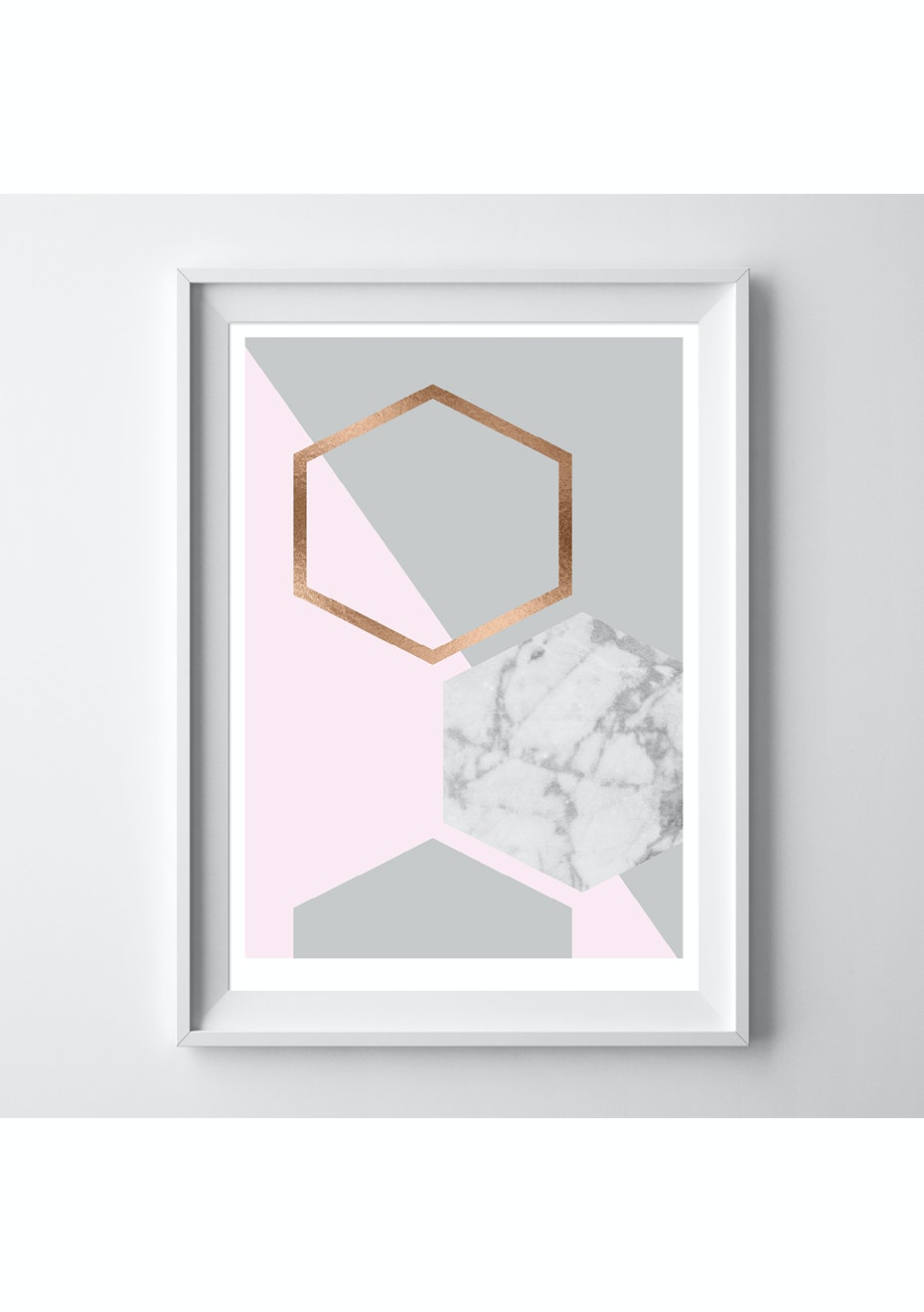 Simply Creative - Limited Edition Blush Hexagon - A3 Copper Foil Print