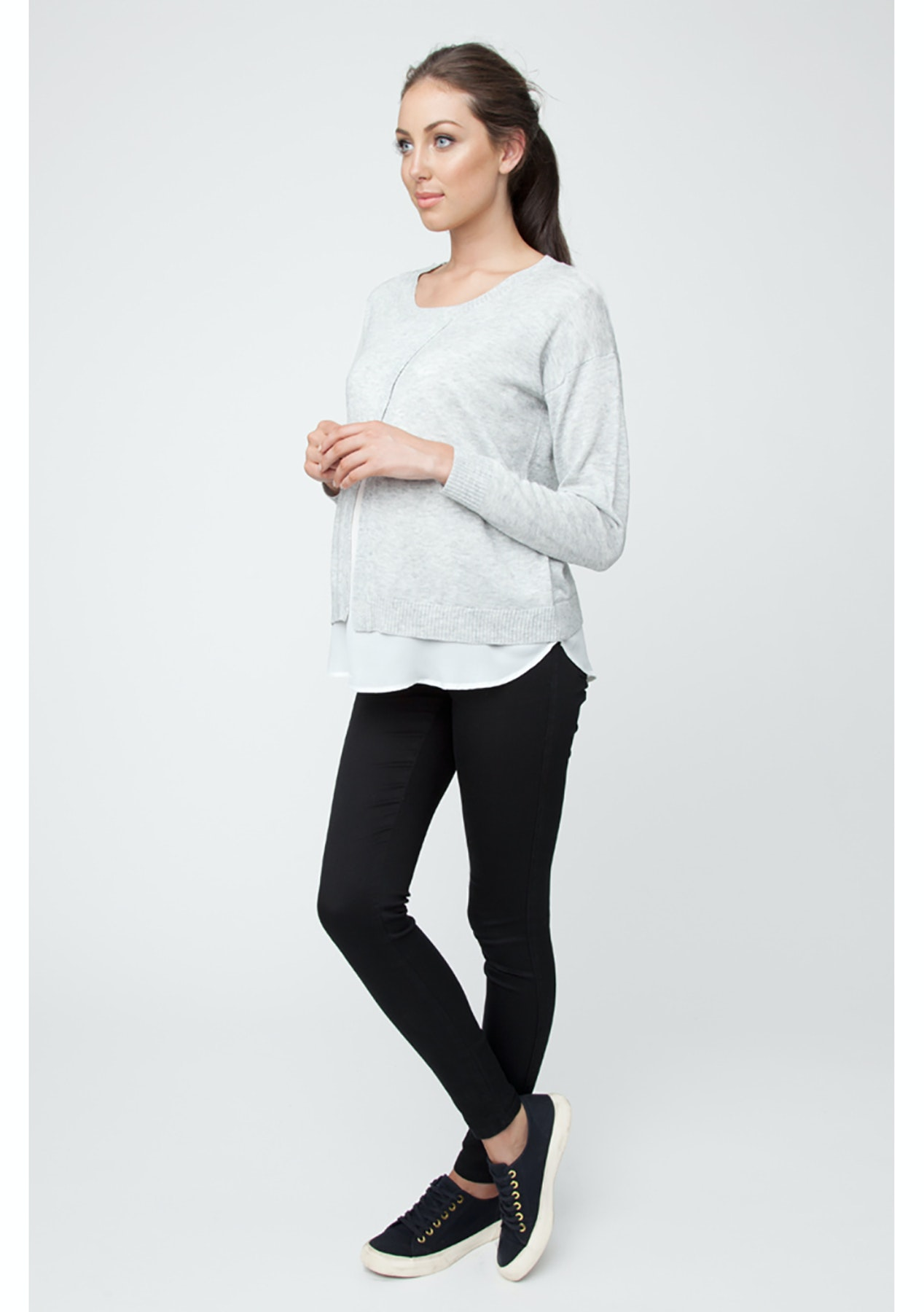 15bee14da22ec Ripe Maternity - Cross Front Nursing Sweater - AshMilk - Ripe Maternity -  Onceit