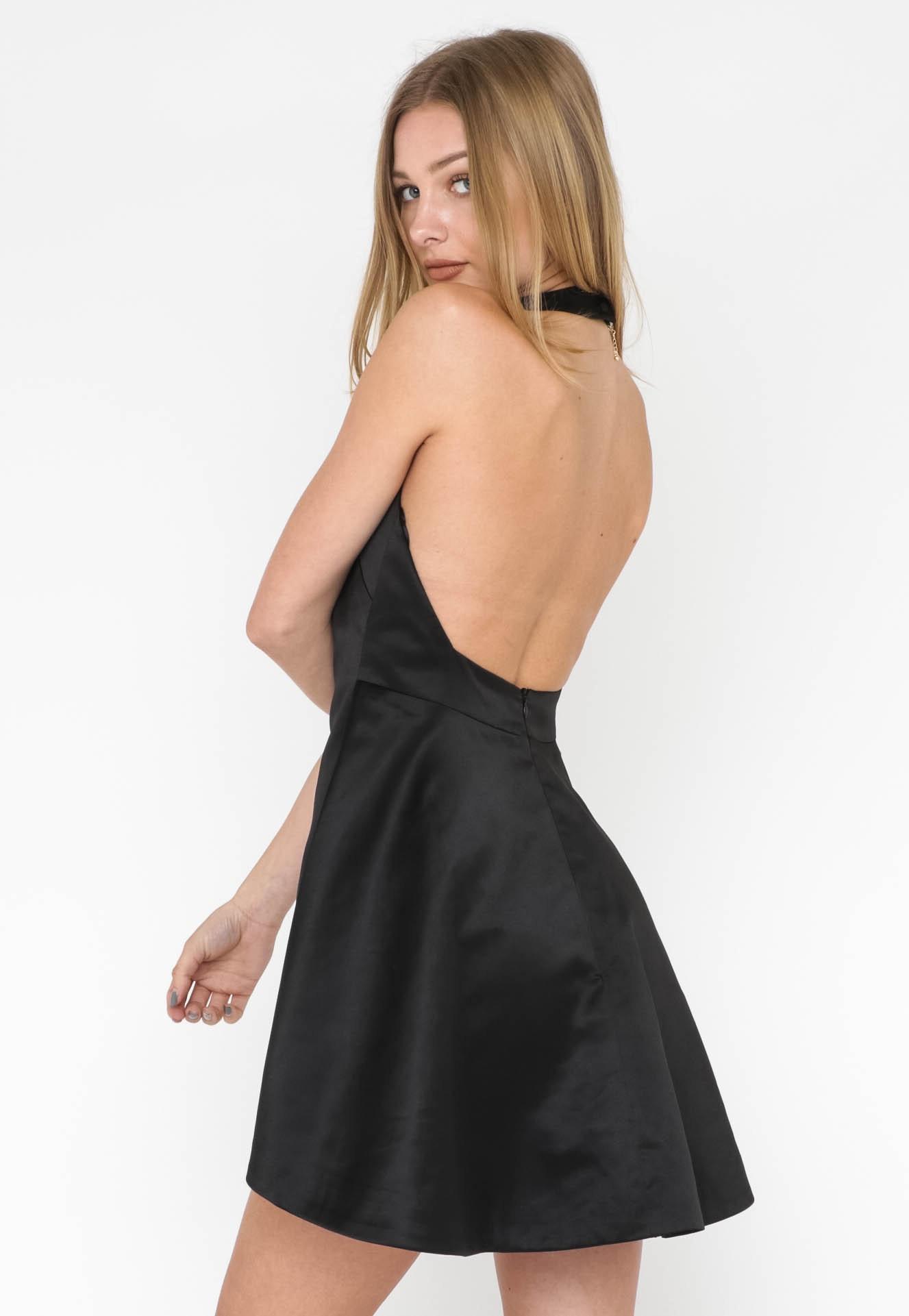 Satin High Neck Dress - Black