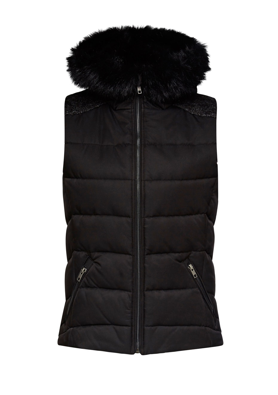 French Connection - Knit Back Fur Puffa Vest - Black