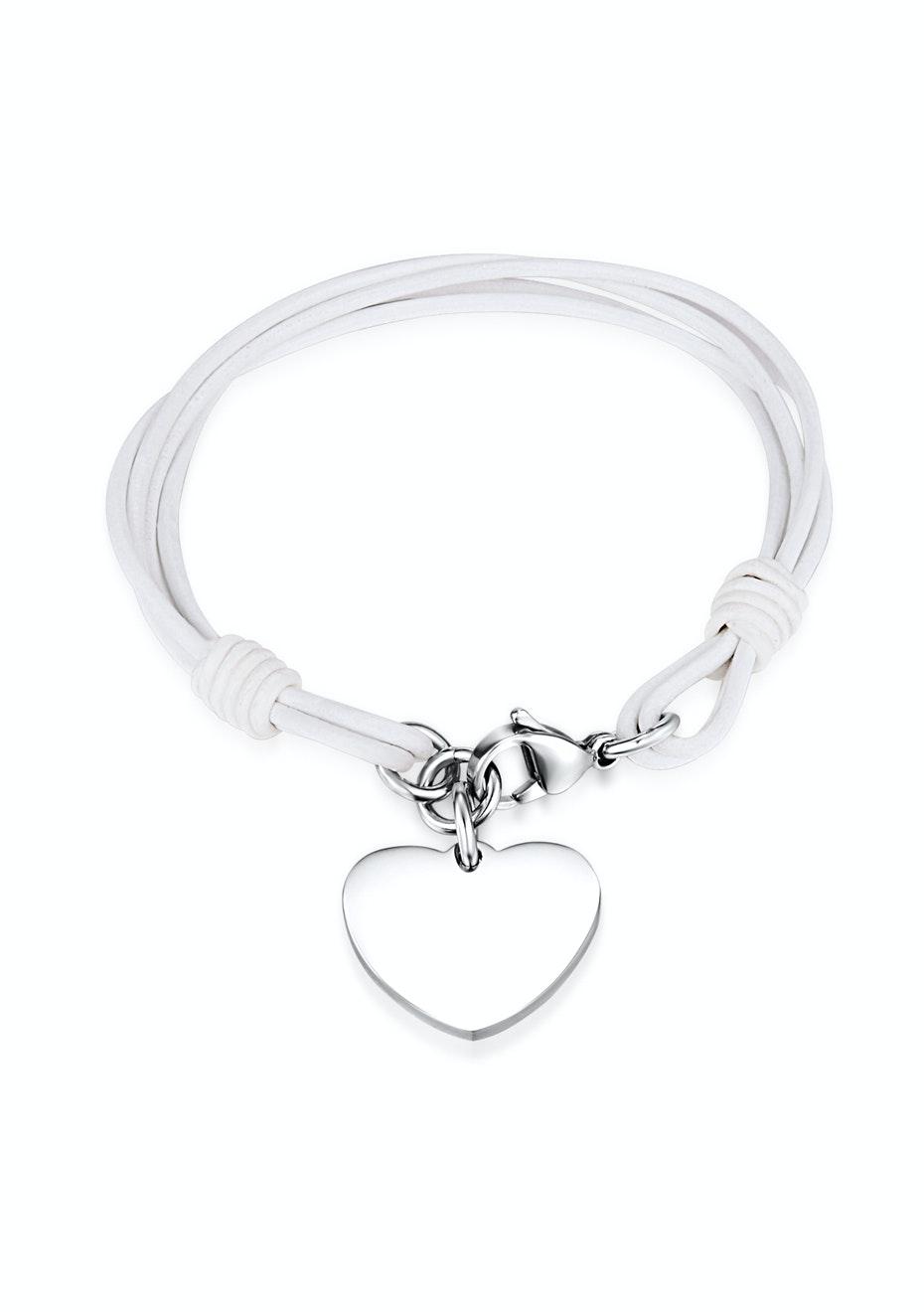 Genuine Cow Leather Heart Bracelet -WHT