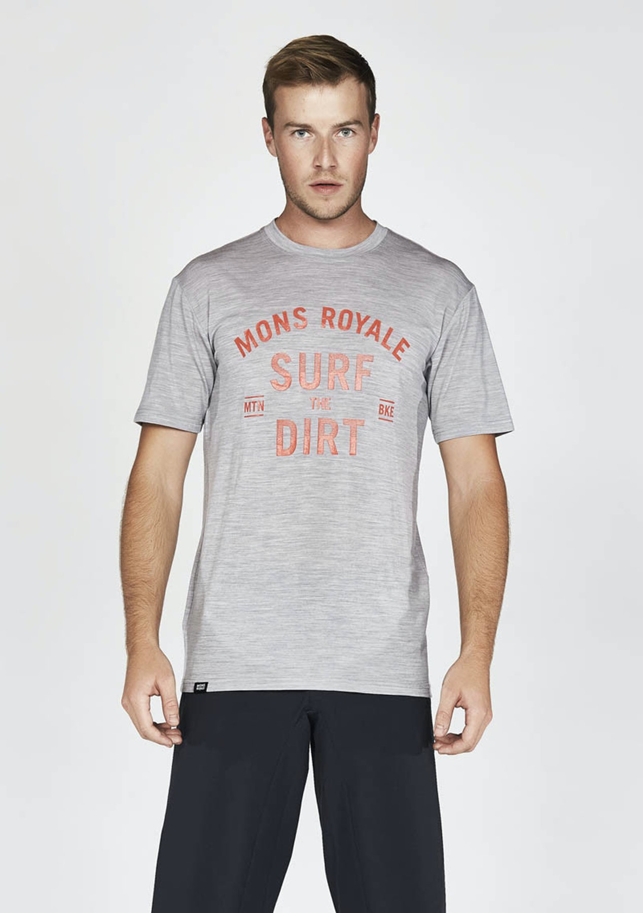 8d4f45a1bf64 Mons Royale - Mens Icon T-Shirt Surf - Grey Marl - Free Shipping Mens  Outlet - Onceit