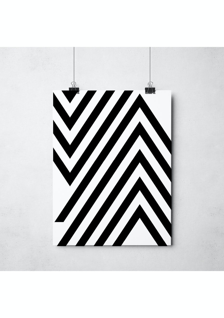 Simply Creative - Chevron - A3 Monochrome Print