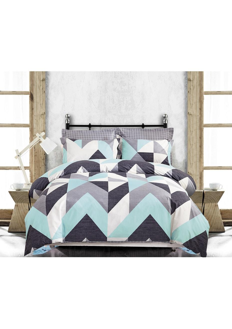 Coastline Quilt Cover Set - Reversible Design - 100% Cotton - Double Bed