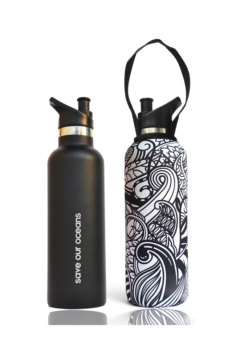 BBBYO - Thermal Traveller Bottle+ Carry Cover (Koru  Print)- sports cap - 750 ml Black