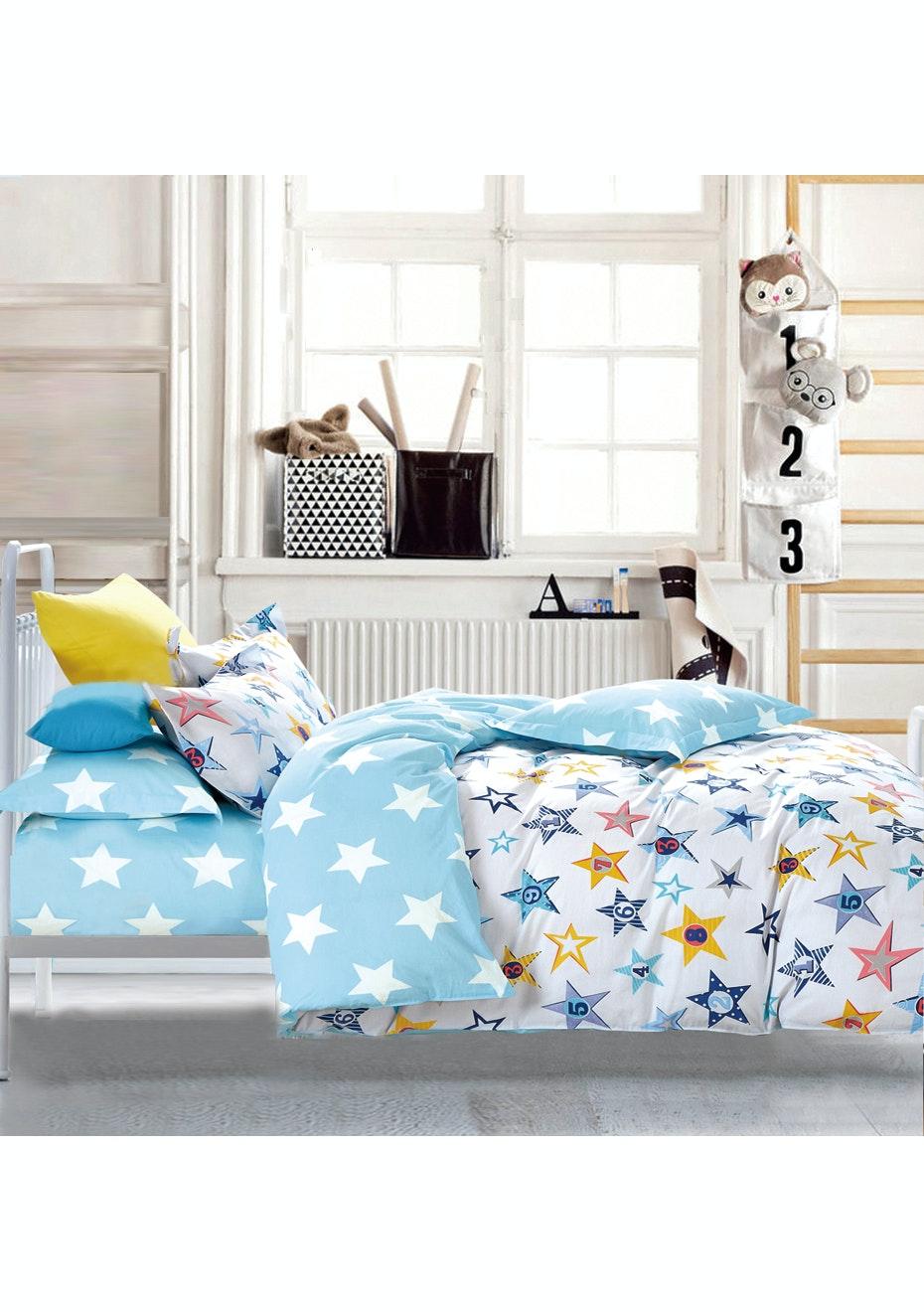 Starbright Quilt Cover Set - Reversible Design - 100% Cotton Single Bed