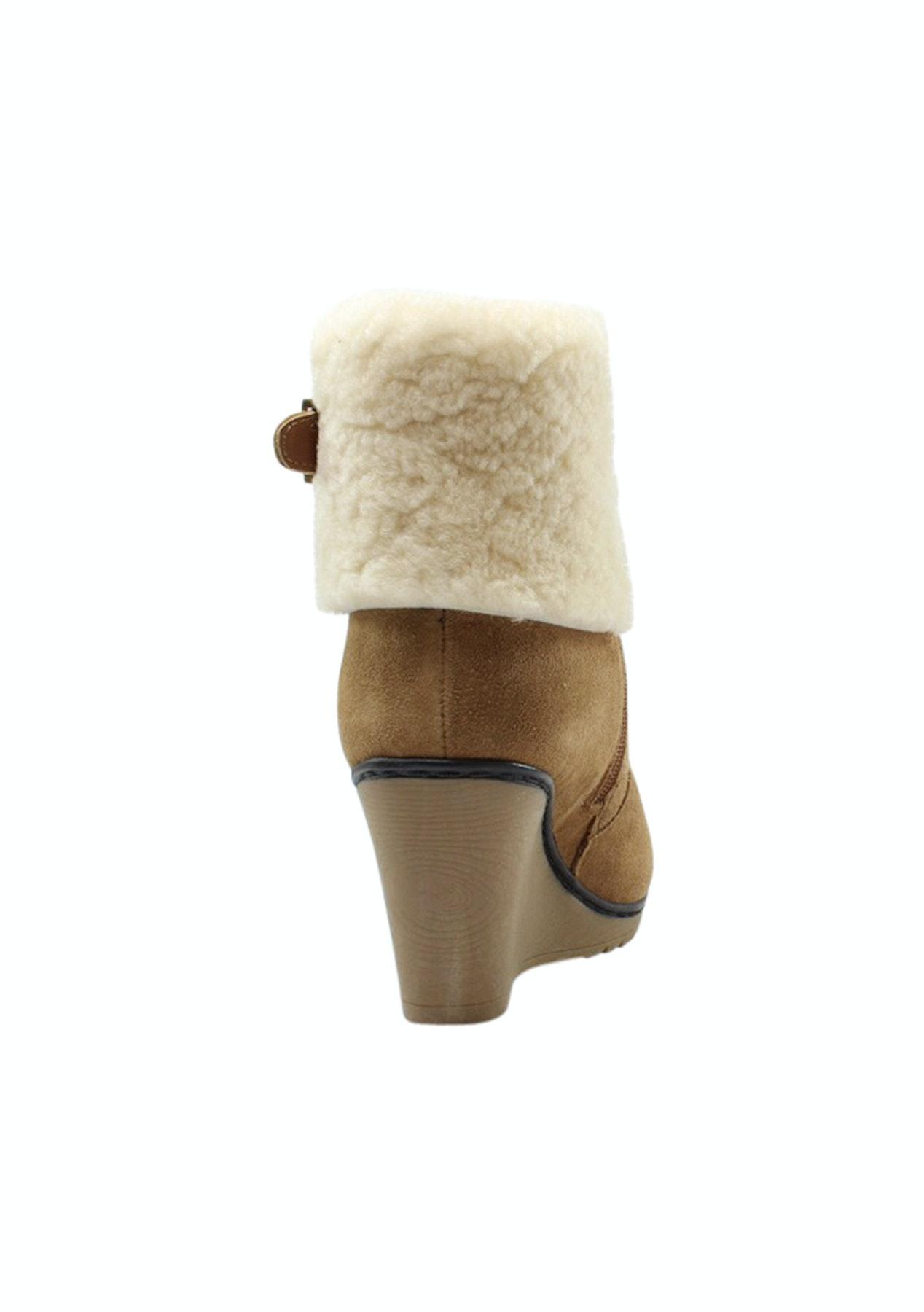 b7a4f43ed54 Auzland Ugg Ladies Leather Fashion Wedge Boot Stml0417 Chestnut