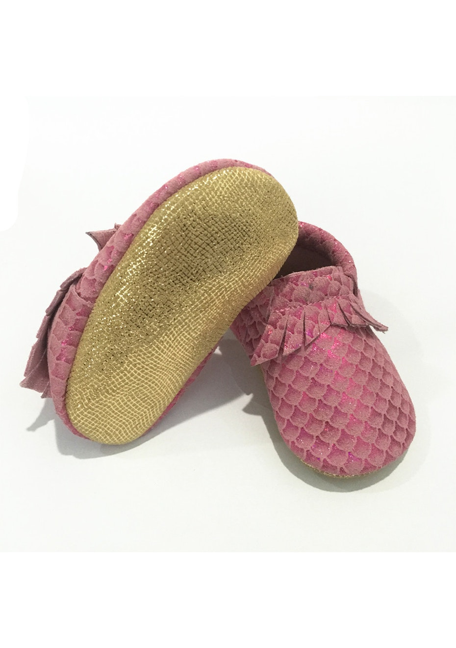 Baby  Leather Shoes - Multi Pink / Gold Sole