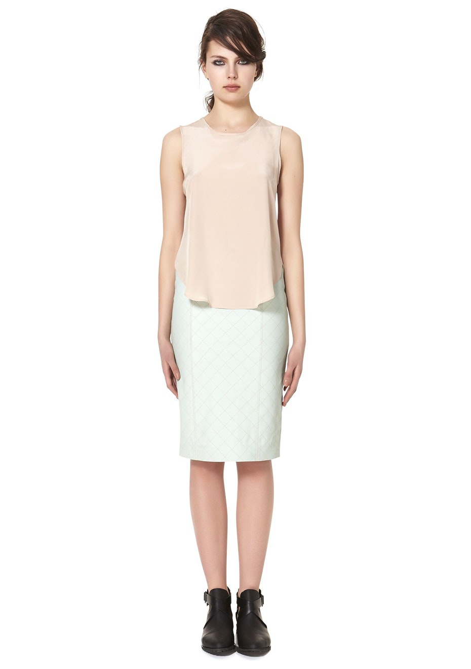 West 14th - The Americano Quilted Skirt - Celadon (Mint Colour)