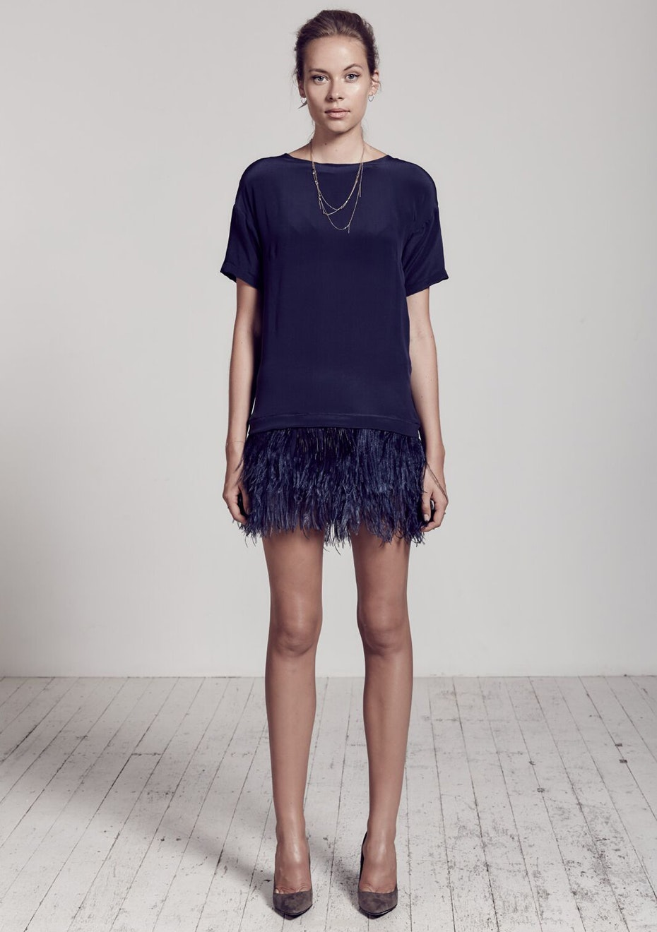 West 14th - Yve Silk Tee Dress With Ostrid Feathers - Blueberry Navy