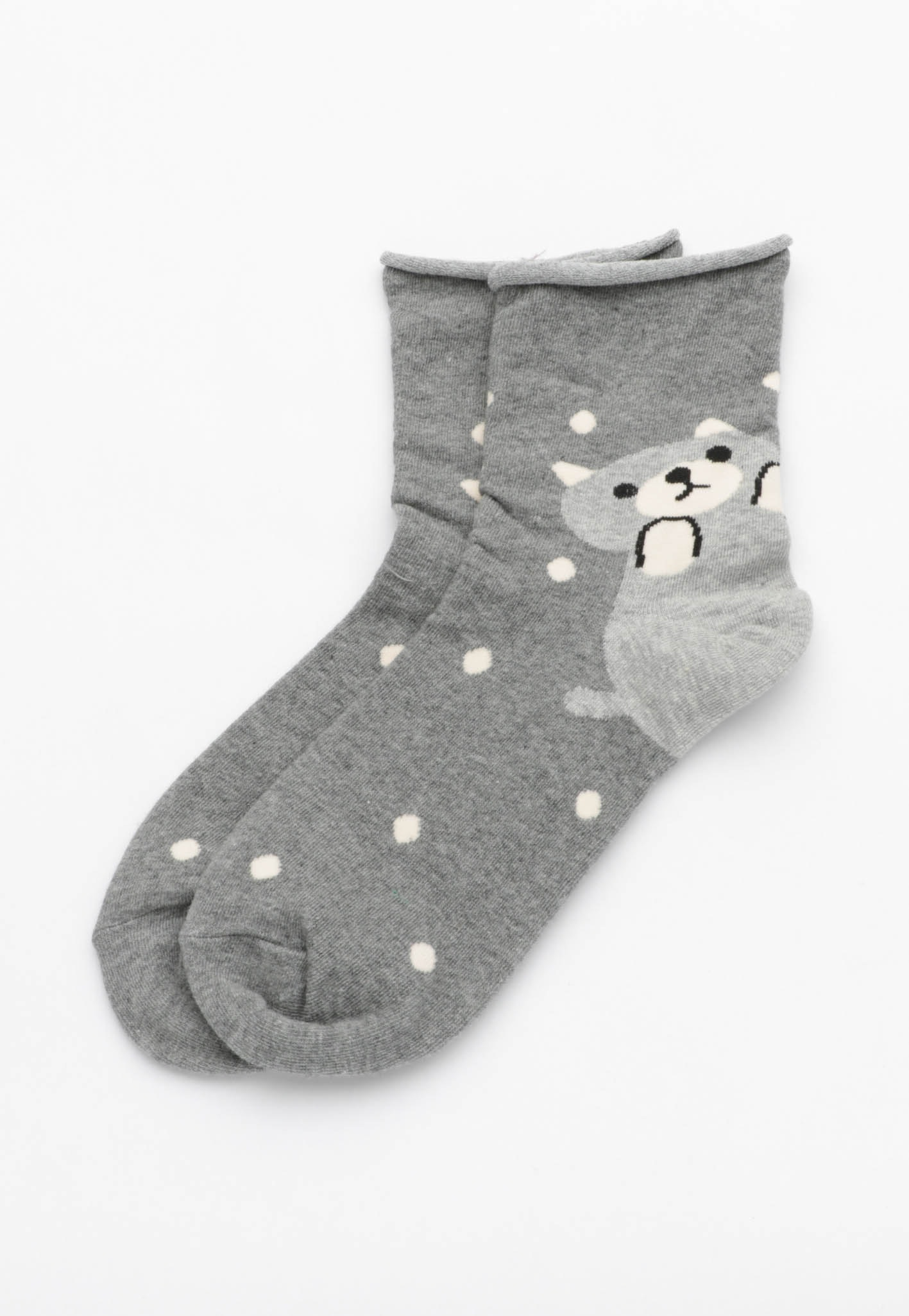 Snowing Bear Socks - Grey Marle