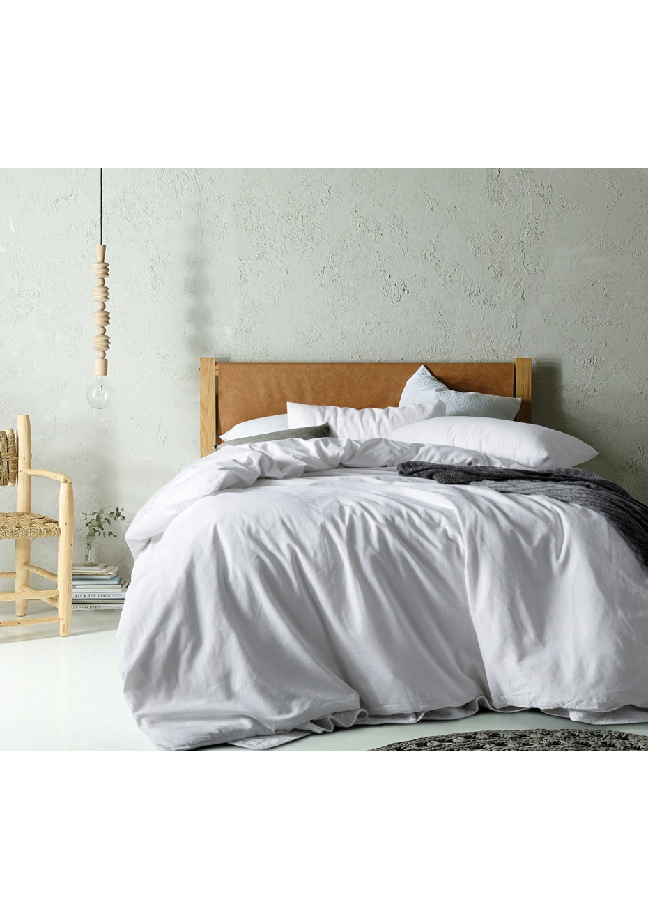 Linen/Cotton White Quilt Cover Set - King Bed