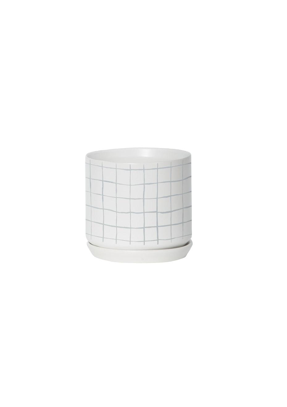 General Eclectic - Medium Oslo Planter Grey Grid
